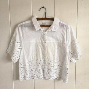 White Crop Button Down